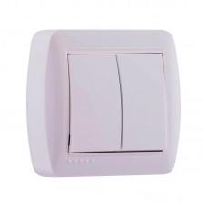 Выключатель Lezard demet двойной белый, 711-0200-101