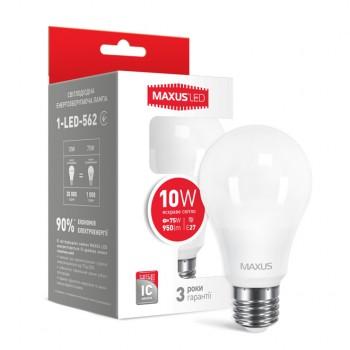 Лампа светодиодная MAXUS A60 LED 10W яркий свет E27 (1-LED-562)