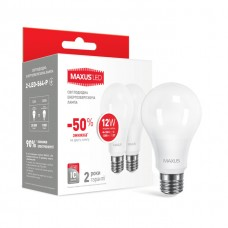 Набор светодиодных ламп LED MAXUS A65 12W яркий свет E27 (2-LED-564-P) 2 шт.