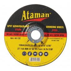 Диск шлифовальный по металлу Ataman 150х6х22.23