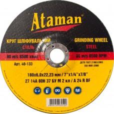 Диск шлифовальный по металлу Ataman 180х6х22.23