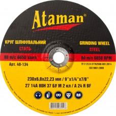 Диск шлифовальный по металлу Ataman 230х6х22.23