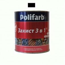Защитная эмаль 3 в 1 Polifarb черная 0.9 кг