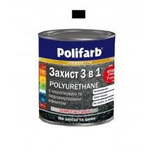 Защитная эмаль с молотковым эффектом Polifarb черная 0.7 кг