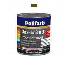 Защитная эмаль с молотковым эффектом Polifarb коричневая 0.7 кг