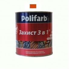 Защитная эмаль 3 в 1 Polifarb красно коричневая 0.9 кг