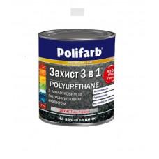 Защитная эмаль с молотковым эффектом Polifarb серебристая 0.7 кг