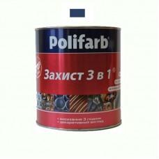 Защитная эмаль 3 в 1 Polifarb синяя 0.9 кг