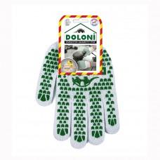 Перчатки Doloni двухсторонние с ПВХ рисунком белые 580