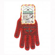 Перчатки Doloni с ПВХ рисунком красные 4216